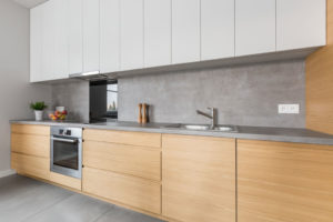 Kitchen with concrete worktop