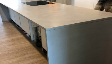 Installation of a concrete bench top with a cook top in Perth WA