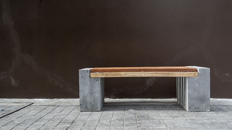outdoor concrete and wooden bench