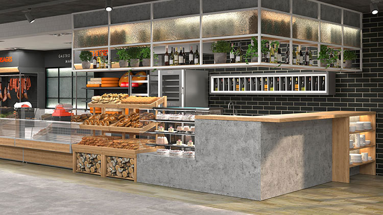 cafe with a concrete counter and design