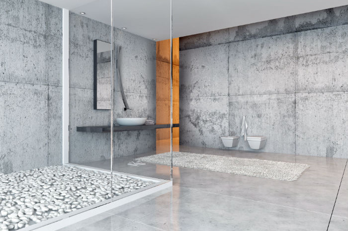 Designer concrete bathroom