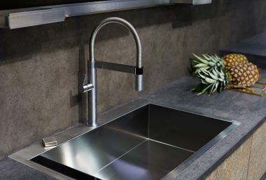 Modern kitchen with a concrete worktop